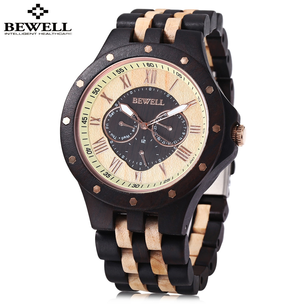 BEWELL Fashion Men Watch Male Business Wood Watch Man Dress Quartz Watches Waterproof Date Wristwatch Relogio Masculino 2017