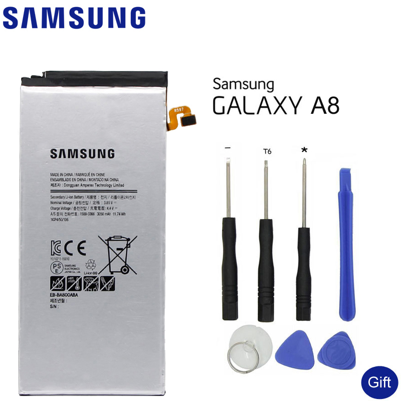 SAMSUNG Replacement Phone Battery EB-BA800ABA ABE For Samsung GALAXY A8 A8000 A800F A800S A800YZ Authentic Phone Battery 3050mAh