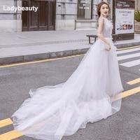 Ladybeauty 2018 New Romantic White Wedding Dress 2018 Bridal Dresses V neck Tulle Lacing Back Vestido De Noiva