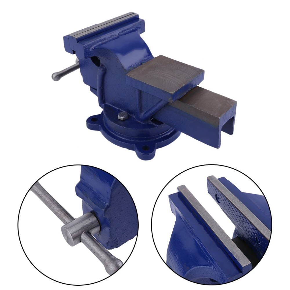 Manual Bench Vice Bench Working Opening Parallel Table Vise DIY Sculpture Craft Repair Hardware Tool 150MM Blue goxawee mini table vice bench vise vice bench vise for diy jewelries craft mould fixed repair tool for dremel accessories
