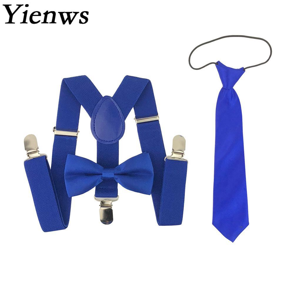Yienws Kids Boys Suspenders Bow Tie Elastic Y-back Braces For Children Girls BowTie Butterfly Suspenders NeckTie Navy YiA118