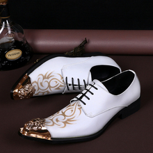 2016 British Style High Quality Genuine Leather Men Oxfords Lace-Up Business Dress Shoes White Men Wedding Shoes Men's Flats