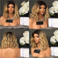 Ombre Blonde Short Bob Hair Cuts Full Lace Wigs Dark Rooted Natural Wave Human Hair Ombre Blonde Glueless Lace Front Wig