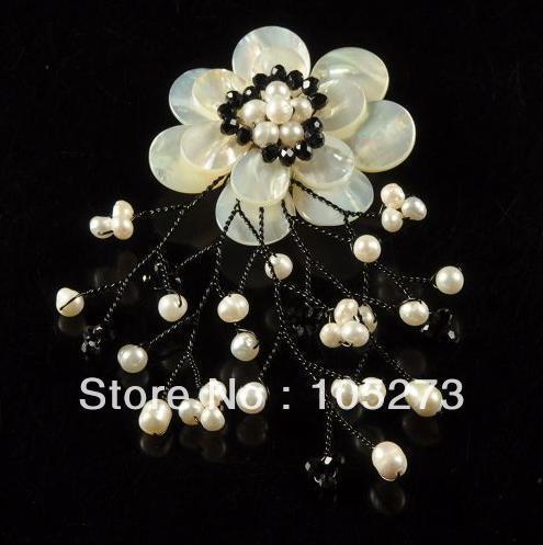 Nova Arriver Natural 3 - 20 mm branco Shell & Freshwater pérola contas de cristal flor broche de pino + pingente 60 mm jóia do casamento da forma