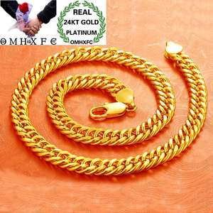 OMHXFC Necklace Chain 24kt Gold Wedding Fashion Male European Thick Man Wide Figaro EX147