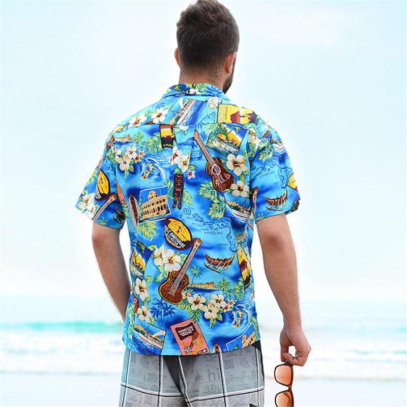 Hawaiian Shirt Short Sleeve Summer Lover Couple Beach Shirts US Size Cotton Flower Printed Casual Shirts