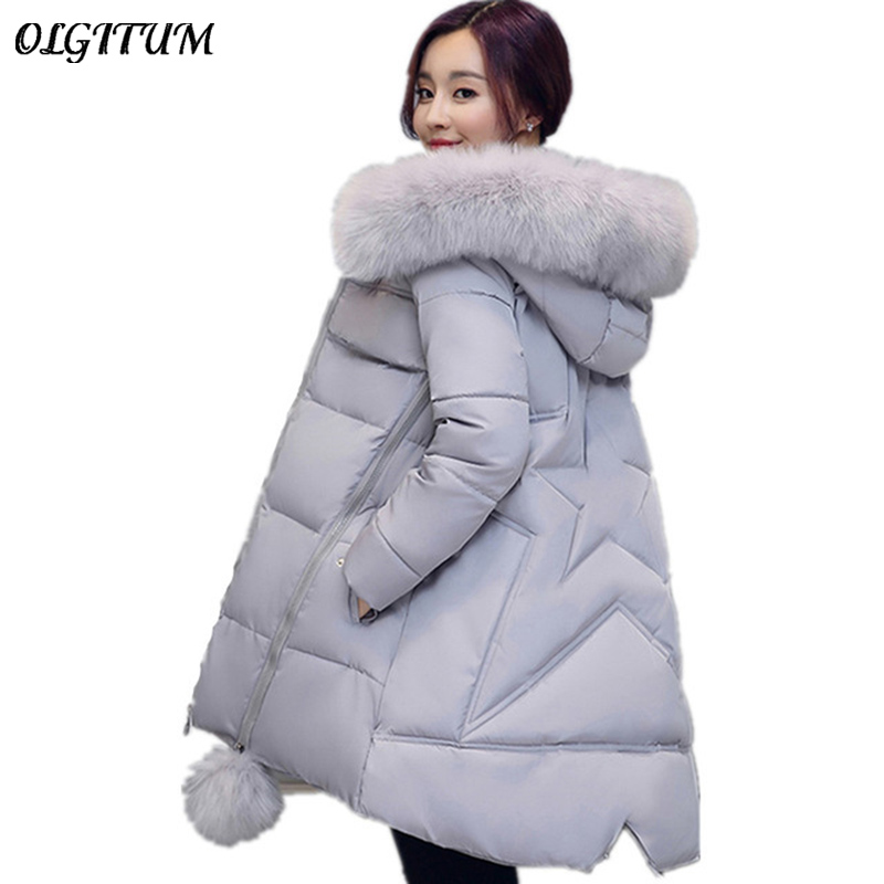 2017 New Winter outwear Long section Cotton coat Women Fur Collar hooded Coat Star Wadded Solid color Jacket Warm Outerwear 2017 winter new clothes to overcome the coat of women in the long reed rabbit hair fur fur coat fox raccoon fur collar