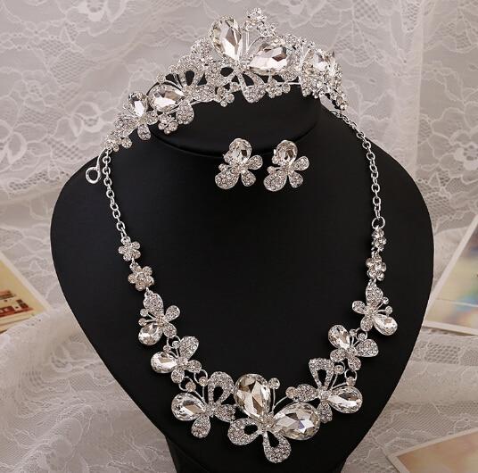 2016 Vintage butterfly wedding bridal tiara crown necklace earrings