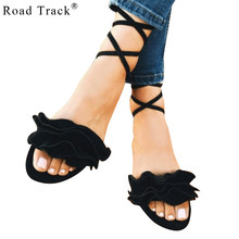 Road Track Women Flat Sandals Lace-up Cross-tied Ladies Sandalias Summer  Flower Ankle Strap Shoes 2018 Black Red Pink XWA1808-5 c52cdc39f451