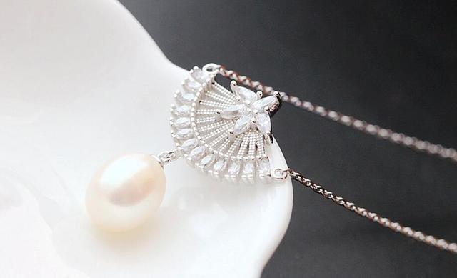 Ms o novo 925 prata esterlina jóias de prata por atacado colar de pingente de pérola Natural do setor a corrente de prata