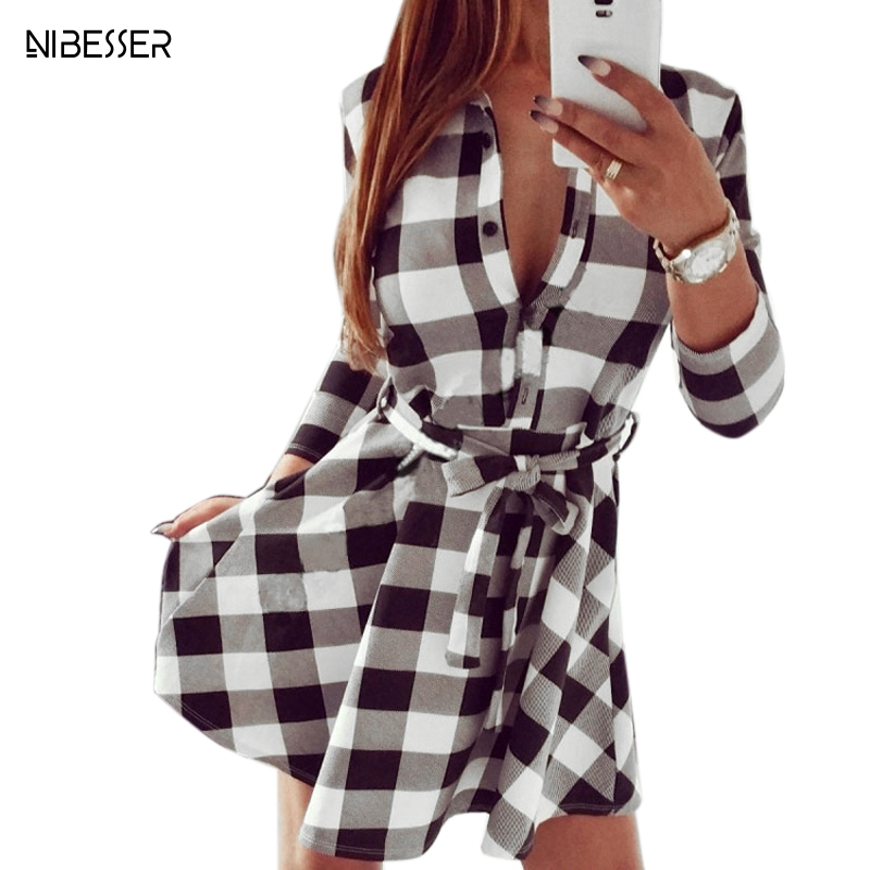 NIBESSER 2019 Spring Women Casual Plaid Shirt Dress High Waist Charming Slim Dress Long Sleeve Mini Dress With Belt Vestidos