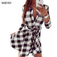 NIBESSER 2019 Spring Women Casual Plaid Shirt Dress High Waist Charming Slim Dress Long Sleeve Mini Dress With Belt Vestidos