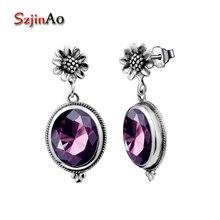 Szjinao Luxury Bridal Handmade Earring Vintage 925 Sterling Silver Oval Amethyst Drop Earrings for Women Wedding Jewelry