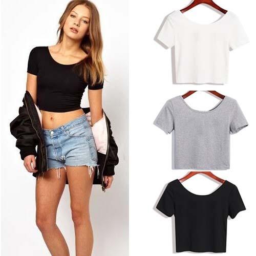 Verão Sexy Top camisa mulheres tops de manga curta t-shirt nu barriga cor sólida fácil jogo