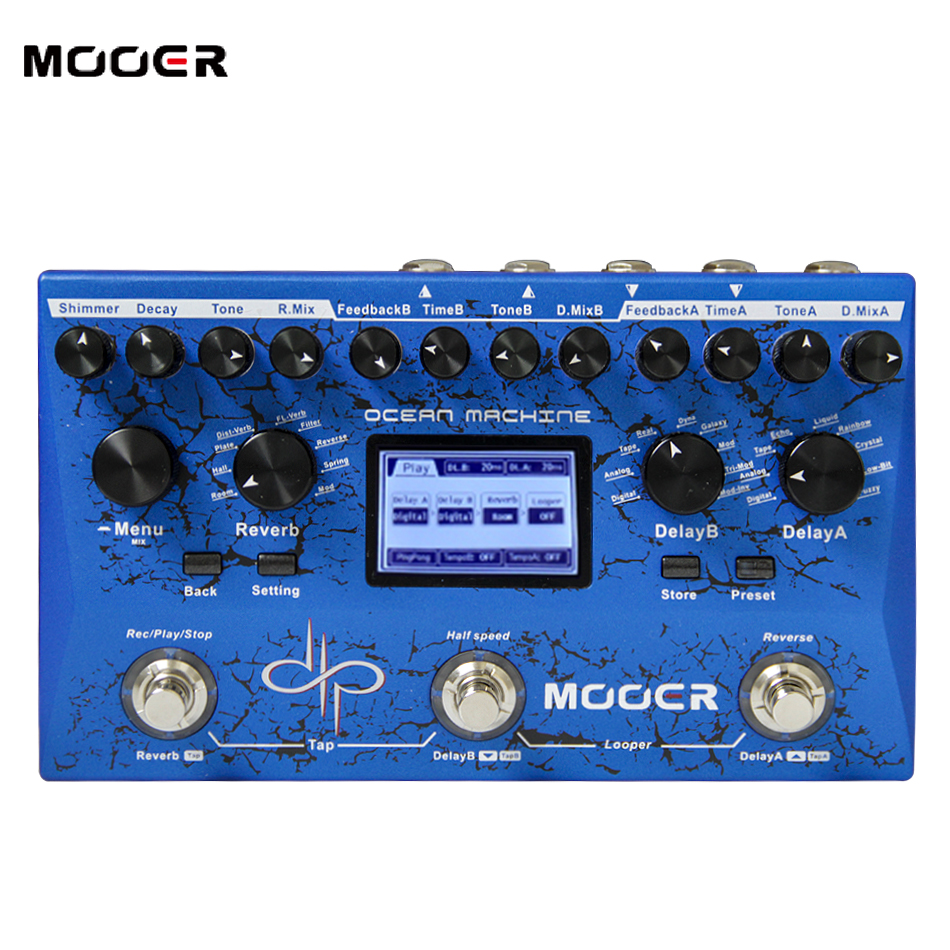 MOOER Ocean Machine Dual Delay, Reverb and Looper unit Octave 2 independent DELAYS with 15 different delay types
