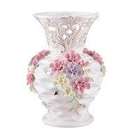Белый керамический полый Emboss цветы ваза украшение для дома большие напольные вазы Свадебные украшения ремесленный фарфор статуэтки R1929