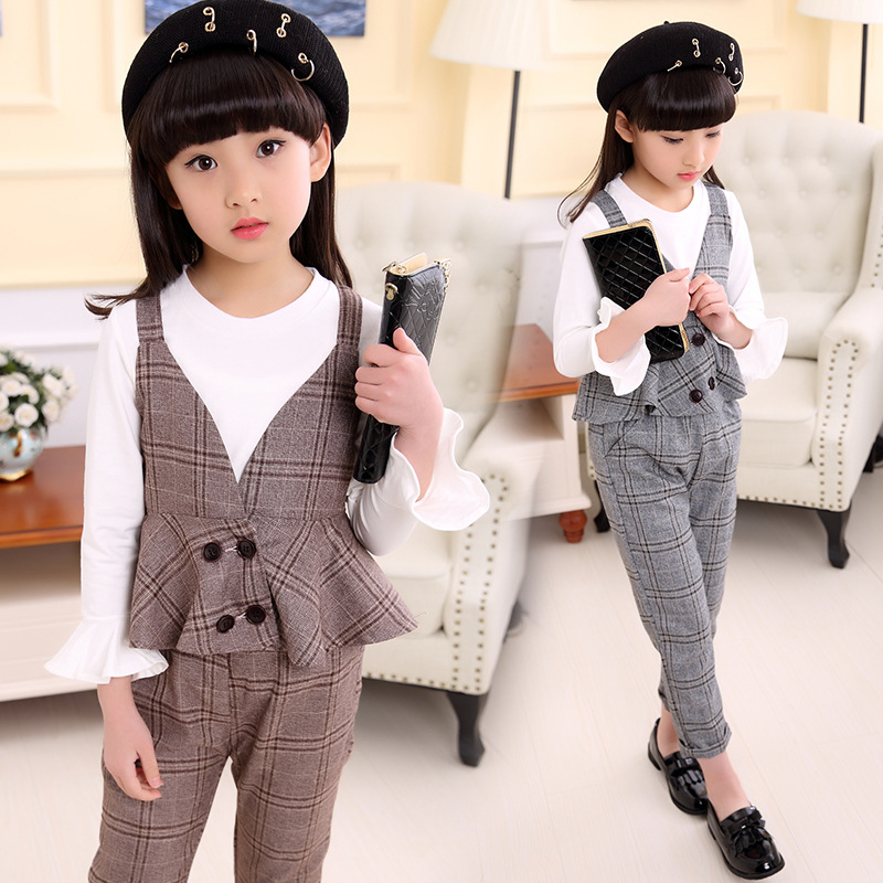 Kids Girls suit children in spring 2017 British style vest three piece suit sling small children kids spring formal clothes set children boys three piece suit cool pant vest coat performance wear western style