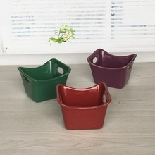 Stoneware 3-Piece Square Ramekin Set, 3 colors Assorted, Red, Purple and Green