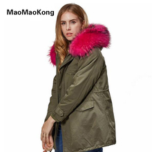 MAO MAO KONG High Quality Army Green Real Raccoon Fur Coat Winter Jacket Women Long Cotton Parkas Hooded Red Black Jacket Coat недорого