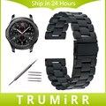 22mm correa de acero inoxidable + herramientas para samsung gear s3 classic frontera venda de reloj plegable hebilla de la correa de pulsera de plata negro