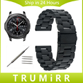 22mm pulseira de aço inoxidável + ferramenta para samsung gear s3 clássico fronteira relógio dobrável banda fivela pulseira pulseira de prata preto