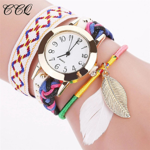CCQ Fashion Women Multicolor Wrist Watches Ladies Bohemian Style Bracelet Watch