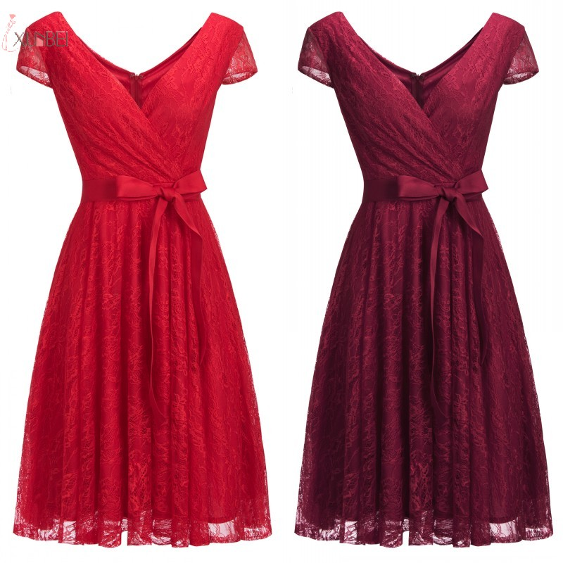 2019 Burgundy Red Lace Short   Bridesmaid     Dresses   V Neck Sleeveless Wedding Party Guest Gown 1148