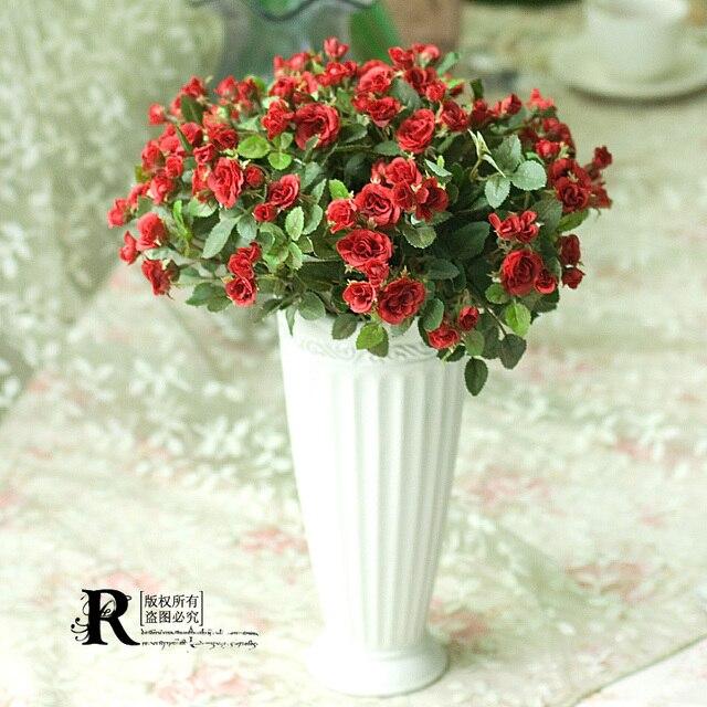 5 Bundles Of Fresh Mini Roses Artificial Flowers And Vase Set