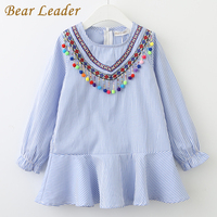 Bear Leader Girls Dress 2017 New Brand Autumn Tassel Dress For Girl Striped Robe Fille Ruffles