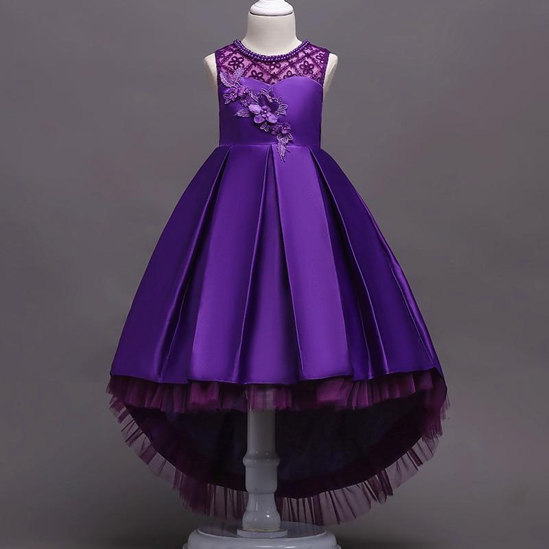 Платье с цветочным узором для девочек; Пышные свадебные вечерние платья с красным прицепом для девочек; кружевное вечернее платье принцессы для первого причастия - Цвет: purple
