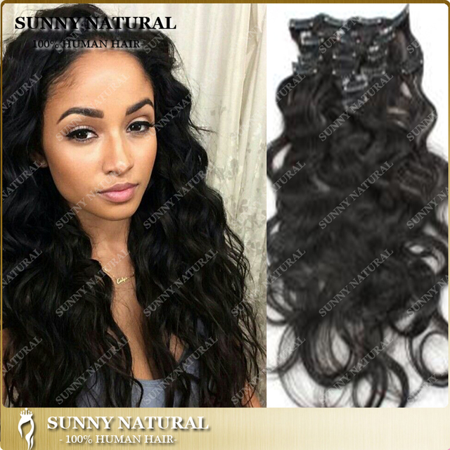 7a Unprocessed Brazilian Body Wave Clip In Human Hair Extensions