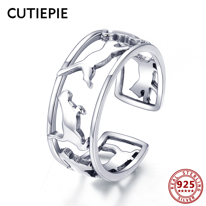 Cutiepie Real 925 Sterling Silver Animal Completely satisfied Cats Rings For Girls Open Adjustable Finger Ring Silver Jewellery Occasion Items
