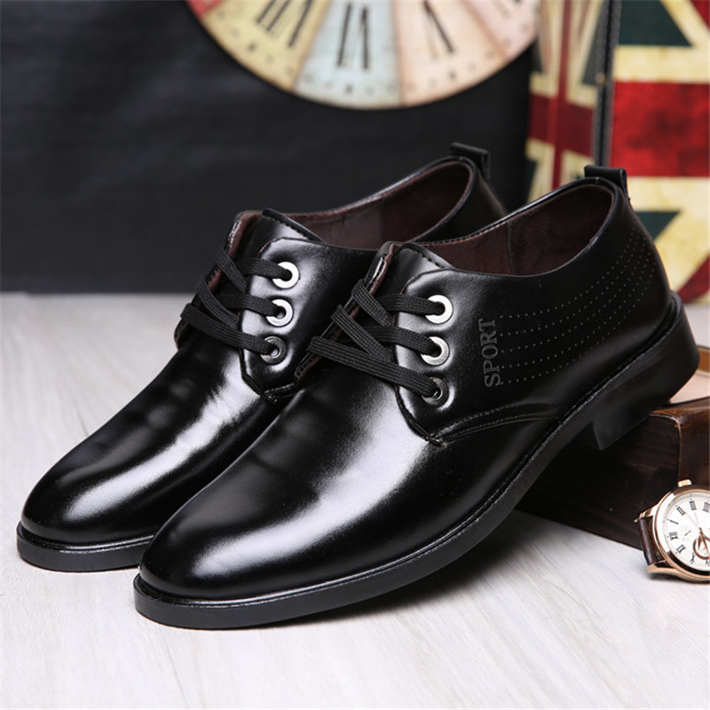 Men's Shoes 2019 Fashion Casual Dress Men Shoes High-quality Shoes Leather Formal Dance Mens Tip Head Bright Leather Mesh Business Leather Shoe 2018 New