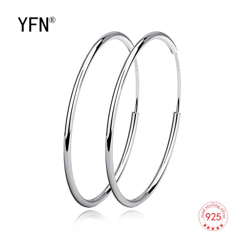 YFN Simple Hoop Earrings 925 Sterling Silver Circle Endless Earrings Hoops Jewelry for Women Girls Daimeter 20 30 40 50 60mm in Hoop Earrings from Jewelry Accessories