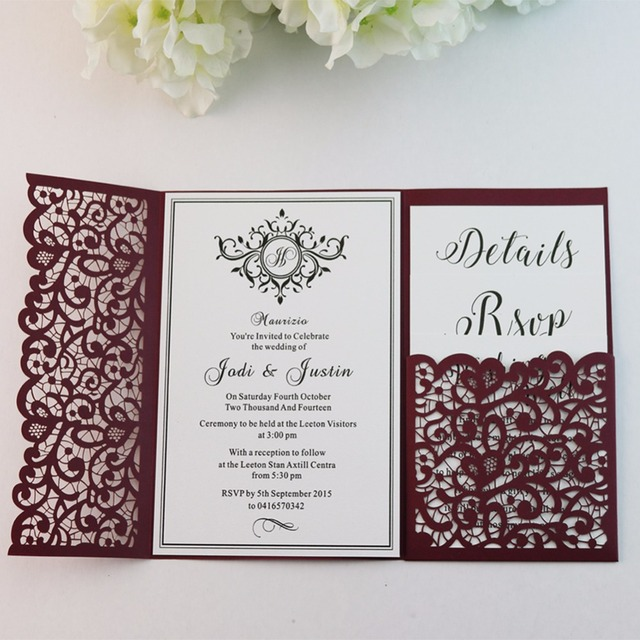 50pcs personalized cut out flowers lace pocket wedding invitations
