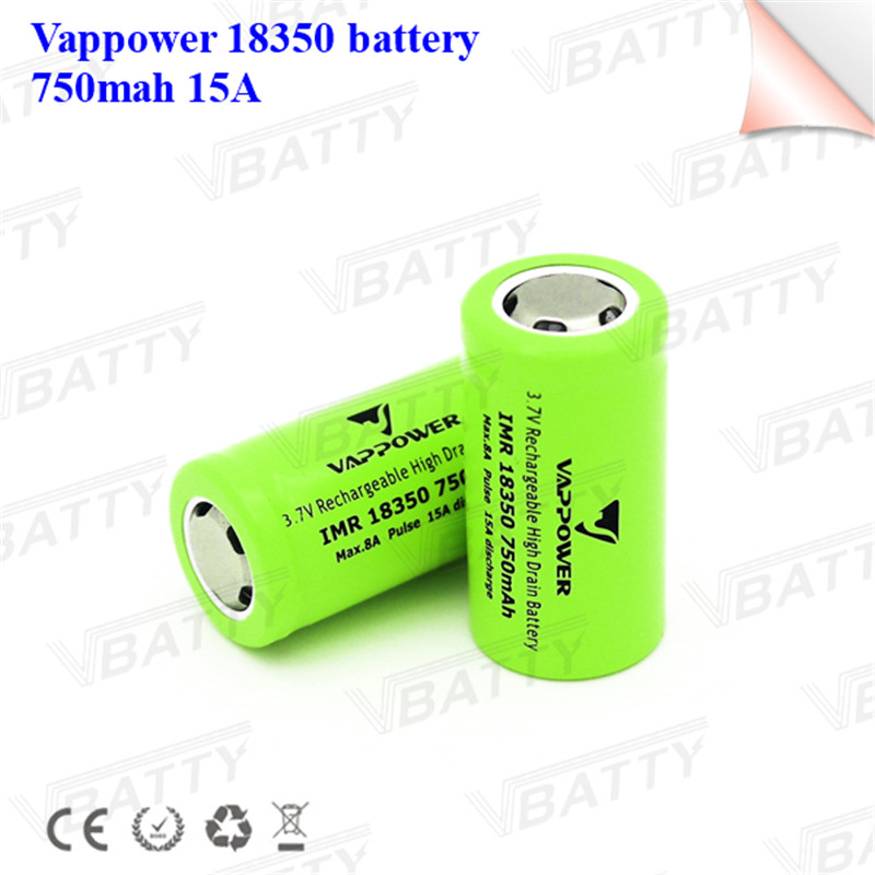Vappower 18350 Lithium Battery 750mAh Rechargeable Battery 15A 3.7V Power Cylindrical Battery For Lamps Electronic Cigarette