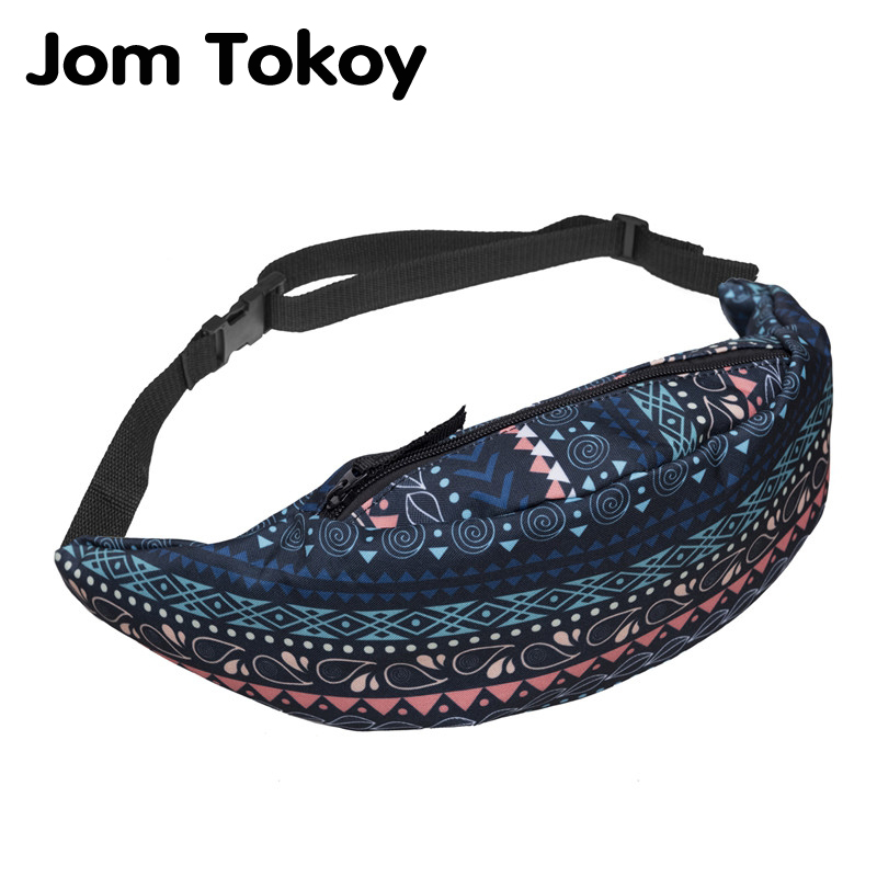 Galleria fotografica Jom Tokoy New Colorful Waist Pack For Men Fanny Pack Style Bum Bag Retro Geometry Women Money Belt Travelling Waist Bag