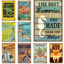 2019 new beach vintage iron painting coffee shop background wall decoration frameless