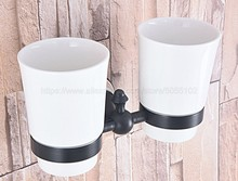 Black Oil Rubbed Bronze Bathroom Accessory Wall Mounted Toothbrush Holder with Two Ceramic Cups zba710 все цены