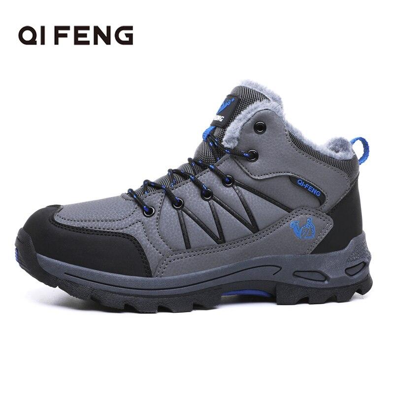 Autumn Winter Men Women Outdoor Sports Hiking Boots Snow Shoes Classic Warm Fluff Casual Footwear Rock