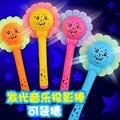1 UNID 22 cm Sun Flower Music Proyector Para Niños Juguetes Luminosos Rojo flor Juguetes de Sonido Puede Ser Cargado de Caramelo Amor Bebé 4 al azar