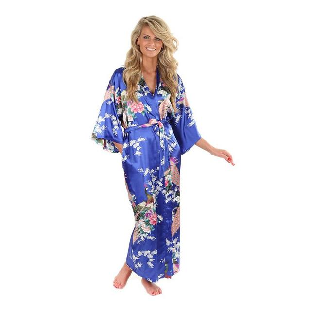 Caliente venta de seda azul para mujer batas de rayón vestido del Kimono de Yukata mujeres chinas lencería Sexy ropa de dormir más el tamaño sml XL XXL XXXL A-046