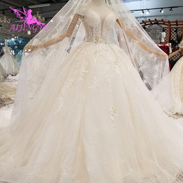 AIJINGYU Lungo Modest Abiti di Singapore Con La Coda Lunga Indonesia Plus Size Spose Pizzo WeddingGown Bridalwear