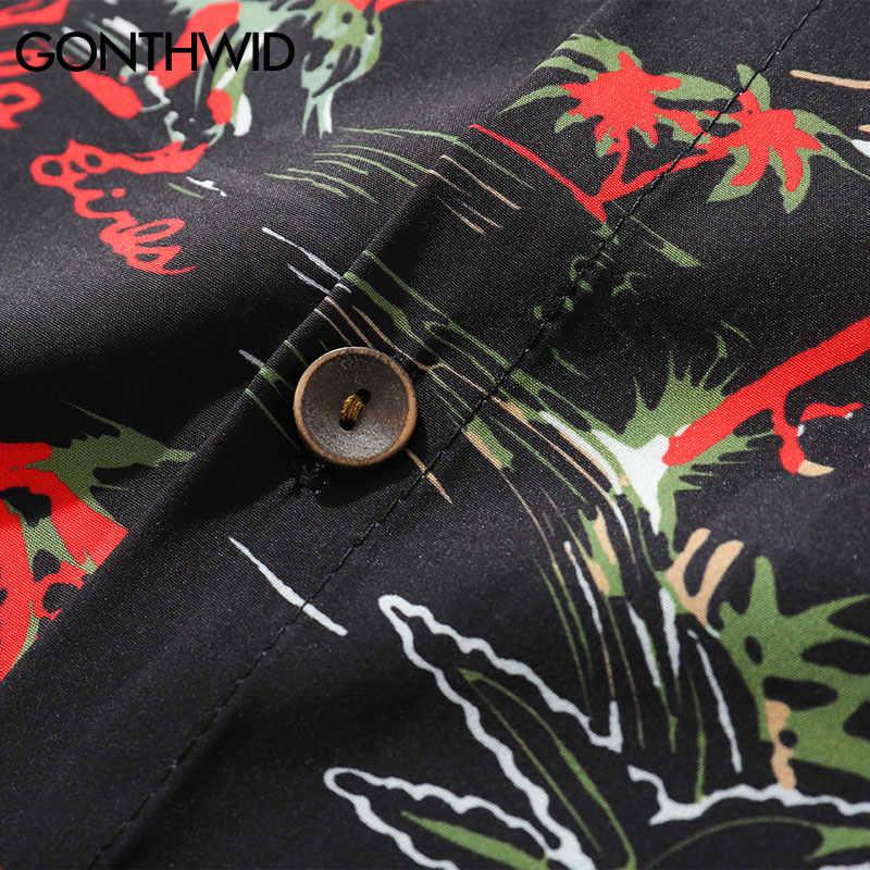 GONTHWID пальмовое дерево Гавайские пляжные рубашки мужские Летние Гавайские алохвечерние вечеринка праздник Необычные Рубашки с коротким рукавом Повседневная Мужская Уличная