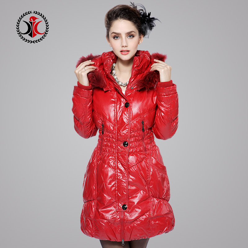 Winter Female Tops Fashion Shiny Hood Down Jackets Raccoon Fur Collar Medium-Long Women Slim Duck Down Lady Coat M-Xxxl D1545 2017 winter new clothes to overcome the coat of women in the long reed rabbit hair fur fur coat fox raccoon fur collar