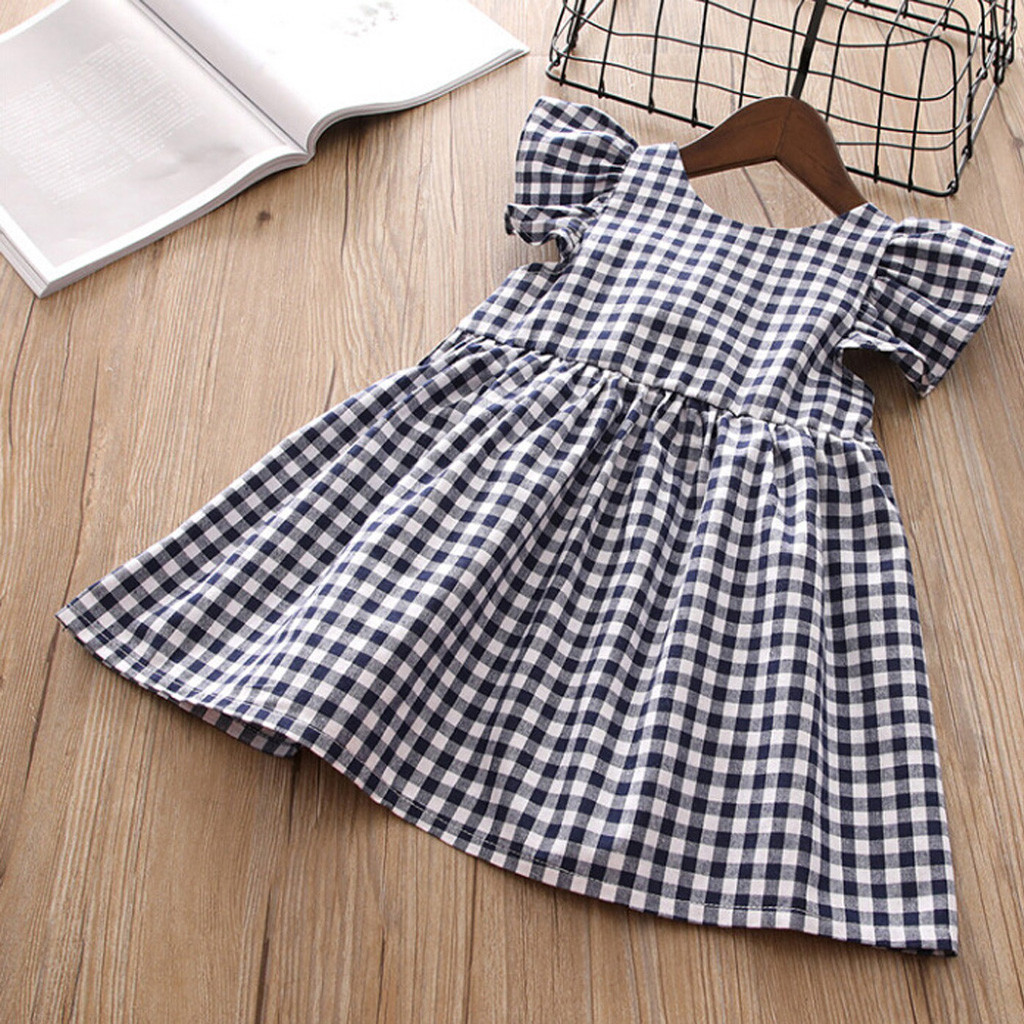 Casual Dress Ruffle Plaid Toddler Baby-Girl Princess Party Kids Fashion Summer Backless