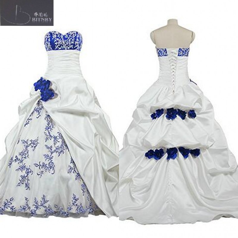 African Royal Blue and White Wedding Dress Sweetheart Neck Pick ups Skirt Bridal Gowns with Hand
