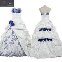 В африканском стиле Королевский синий и белый свадебное платье Милая Средства ухода за кожей Шеи Палочки ups Юбка Свадебные платья с ручной ц