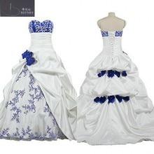 Vestido de novia blanco y azul real africano con cuello de corazón, falda de Pick-ups, vestidos de novia con flor hecha a mano