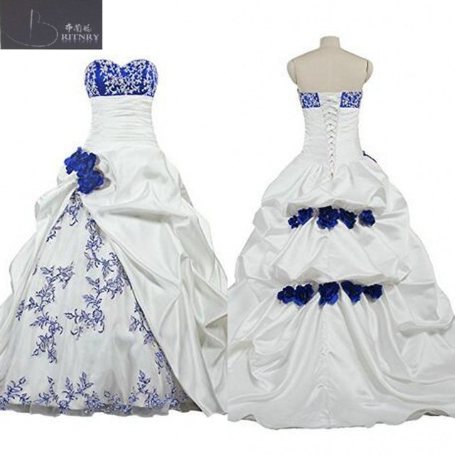African Royal Blue And White Wedding Dress Sweetheart Neck Pick Ups